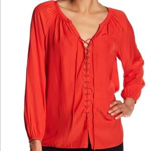 NWOT Ramy Brook Red Lace-Up Top